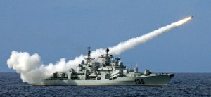 A Chinese warship launches a missile during a live-ammunition military drill held by the South China Sea Fleet last year.