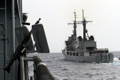 NNS OKPABANA intercepts the German frigate BRANDENBURG, which simulates a tanker carrying a cargo of stolen oil, on 24 March 2015. (Photo: German Navy/Steve Back)