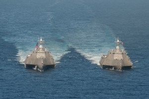 140423-N-VD564-016  PACIFIC OCEAN (April 23, 2014)  The littoral combat ships USS Independence (LCS 2), left, and USS Coronado (LCS 4) are underway in the Pacific Ocean. (U.S. Navy photo by Chief Mass Communication Specialist Keith DeVinney/Released)