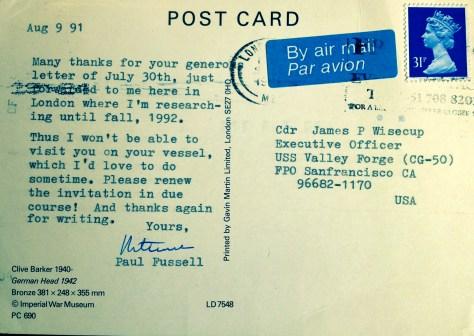 Paul Fussell postcard