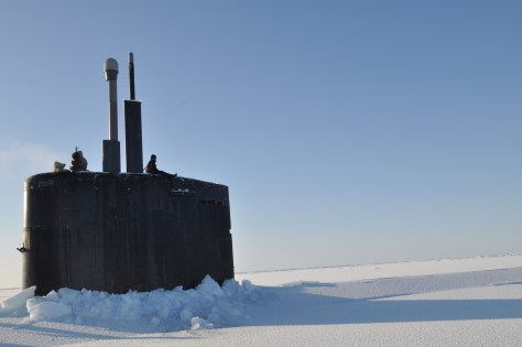 090321-N-8273J-254 ARCTIC OCEAN (March 21, 2009) Crewmembers of the Los Angeles-class submarine USS Annapolis (SSN 760) man the bridge watch after breaking through the ice during Ice Exercise (ICEX 2009) in the Arctic Ocean. Annapolis and the Los Angeles-class submarine USS Helena (SSN 725) are participating in ICEX 2009 to operate and train in the challenging and unique environment that characterizes the Arctic region. (U.S. Navy photo by Mass Communication Specialist 1st Class Tiffini M. Jones/Released)