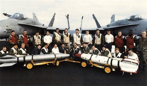 B61 and B57 nuclear weapons are displayed on board the USS America (CV-66) during its deployment to Operation Desert Storm in 1991. The nuclear division was also onboard in 1992 but gone in 1993.