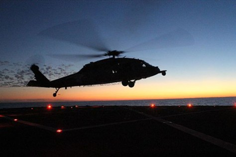 Passive and active search tactics with organic assets will need to be developed for each ship and helicopter pair (US Navy Photo).