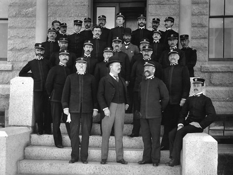 Assistant Secretary of the Navy Theodore Roosevelt on the steps of the Naval War College.