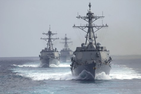 PACIFIC OCEAN (May 23, 2014) The guided-missile destroyers USS Halsey (DDG 97), USS Michael Murphy (DDG 112) and USS Gridley (DDG 101) are underway in formation during a strait transit exercise. The Carl Vinson Carrier Strike Group is underway conducting a composite training unit exercise off the coast of Southern California. (U.S. Navy photo/Released)