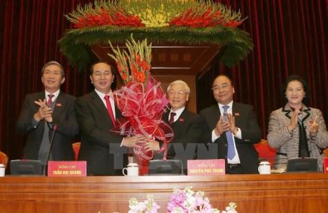 Politburo members. From left to right: Dinh The Quynh, Tran Dai Quang, Nguyen Phu Trong, Nguyen Xuan Phuc, and Nguyen Thi Kim Ngan.
