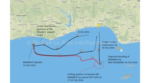 The hijacking of the product tanker MAXIMUS and the tracks of the pirate support vessels between 8 and 19 February 2016 (source: MaRisk by Risk Intelligence).