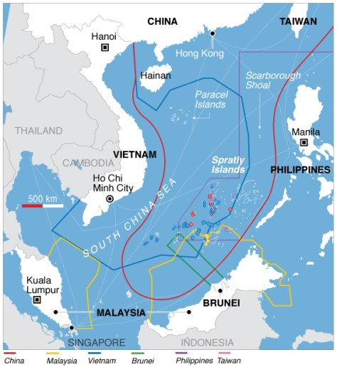 A map showing territorial claims in the South China Sea (Source: VOA News)