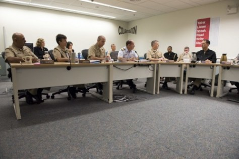 (Oct. 5, 2015) Chief of Naval Operations (CNO) Adm. John Richardson meets with the fellows of the CNO Strategic Studies Group (SSG) at the U.S. Naval War College (NWC). Richardson visited NWC to address the students and faculty and to meet with the SSG. (U.S. Navy photo by Mass Communication Specialist 1st Class Nathan Laird/Released)
