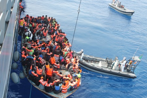 LÉ Eithne rescuing migrants as part of Operation Triton in June 2015.