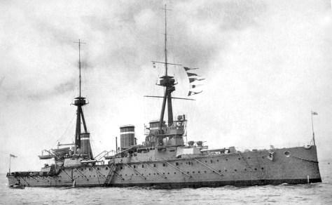 HMS Invincible, Britain's first battlecruiser. (Wikimedia Commons)