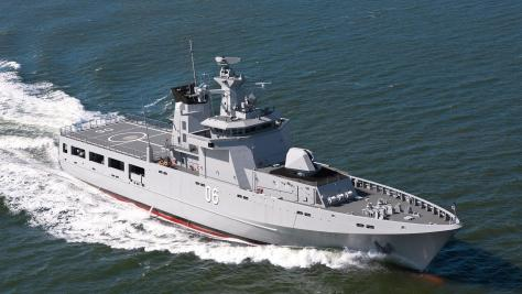 KD Darussalam, the first of the four OPVs built by Lurssen for the Royal Brunei. (luerssen-defence.com/)