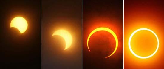 Immagini di eclissi solare in Cina