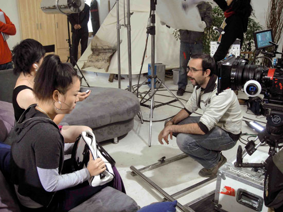 Sam Voutas on set