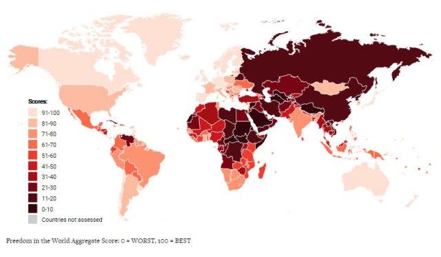 cartina delle libertà del mondo