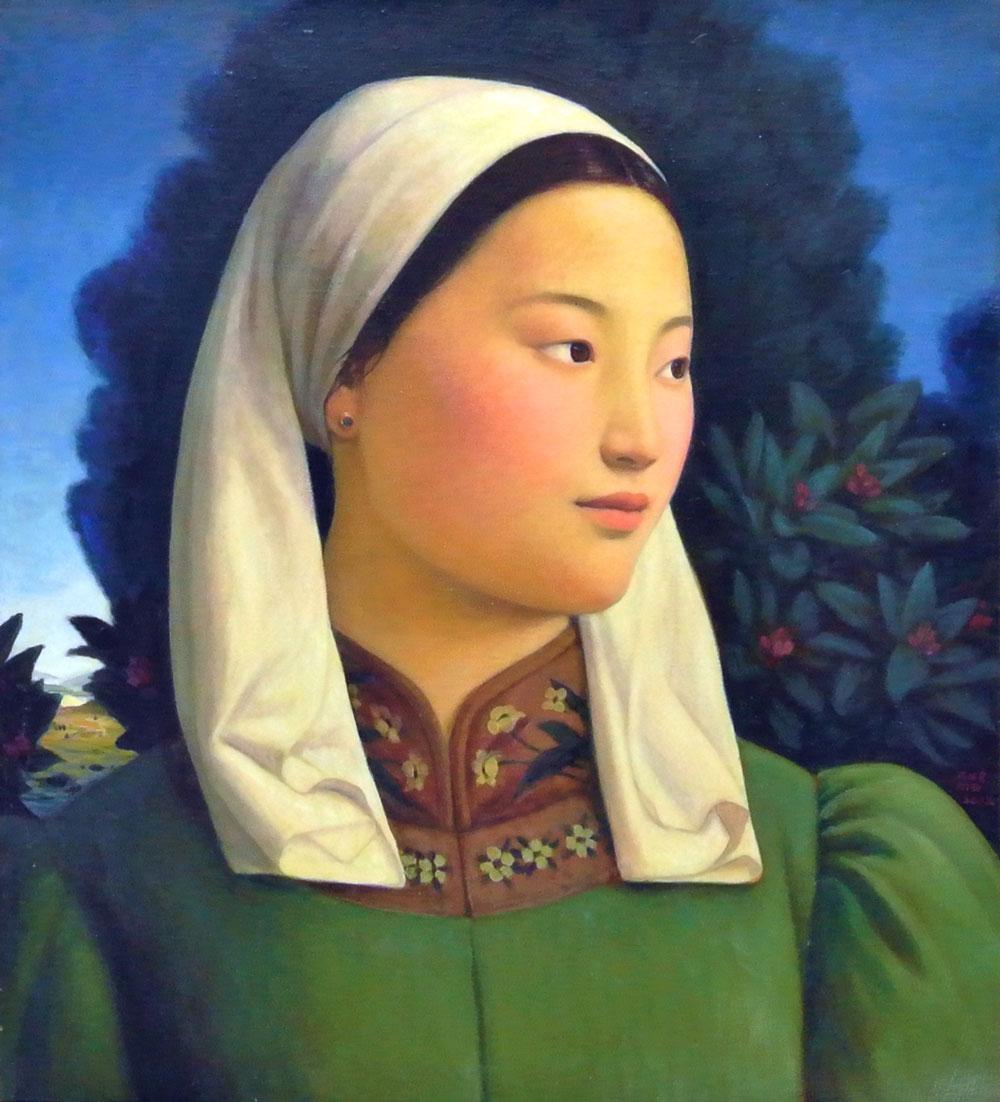 Mongolian Girl, oil on linen, 75.5 x 66cm, 2012, Karin Weber Gallery