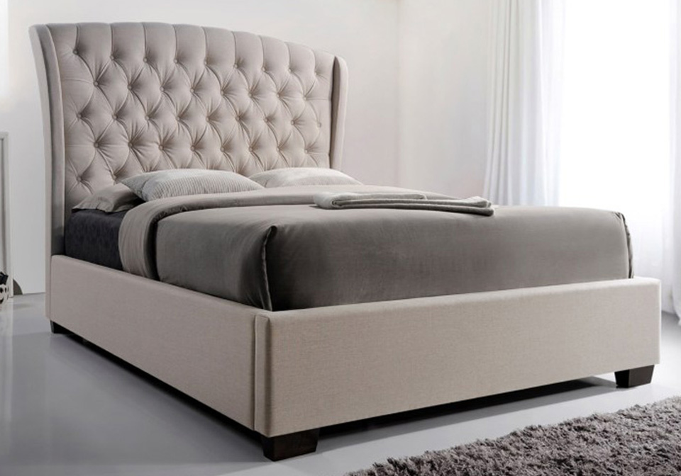kaitlyn taupe upholstered queen sleigh bed