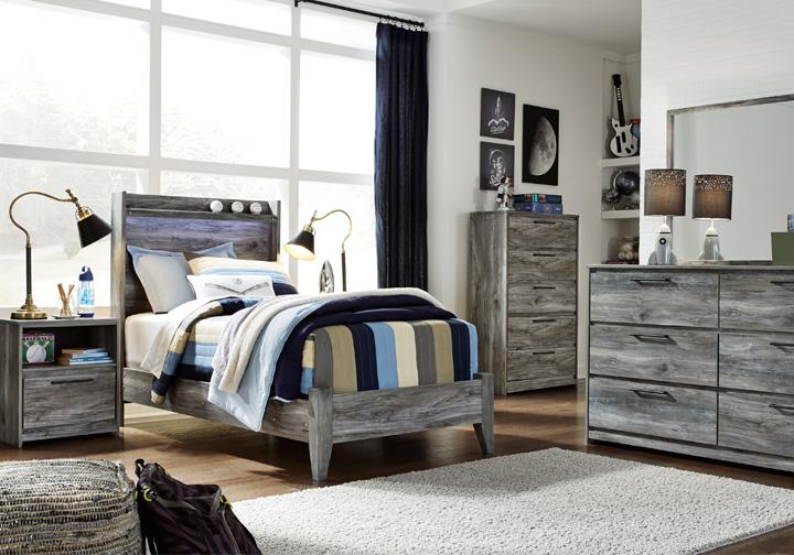 baystorm gray twin panel bedroom set