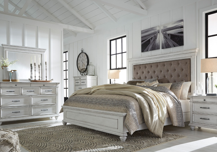 kanwyn whitewash upholstered king panel storage bedroom set