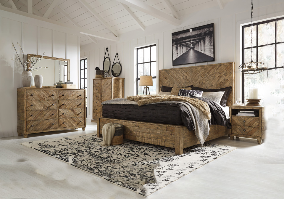 grindleburg light brown king panel bedroom set
