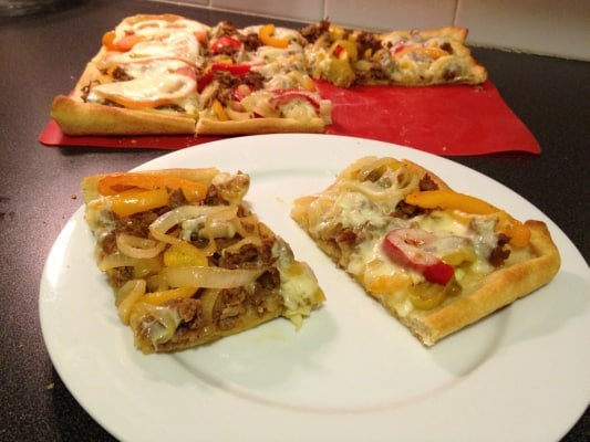 Cheesesteak Pizzs Recipe - Using Pillsbury Thin Crust Pizza Crust makes for an easy start , so pile on the remaining toppings and enjoy.