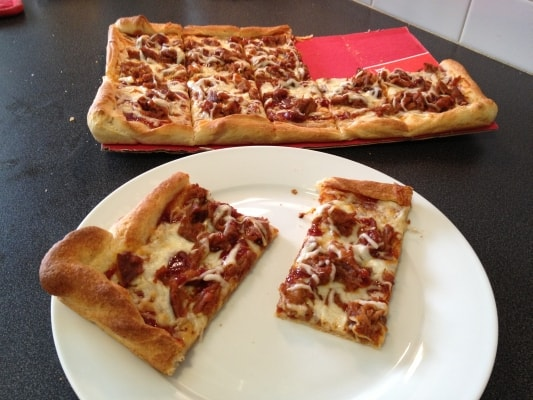 DIY Montgomery Inn Pulled Pork Pizza Recipe - Use Mongomery Inn BBQ sauce as a base  and you have the foundation for a great pizza.