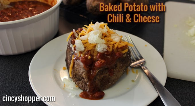 Baked Potato with Chili and Cheese Recipe - It doesn't take much effort, just a little time for the potatoes to bake. Large baking potatoes seem to weigh 12-16 ounces, so with the chili and cheese they can be quite filling.
