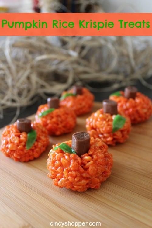 Pumpkin Rice Krispie Treats- Super fun Halloween snack or treat. Perfect for parties.