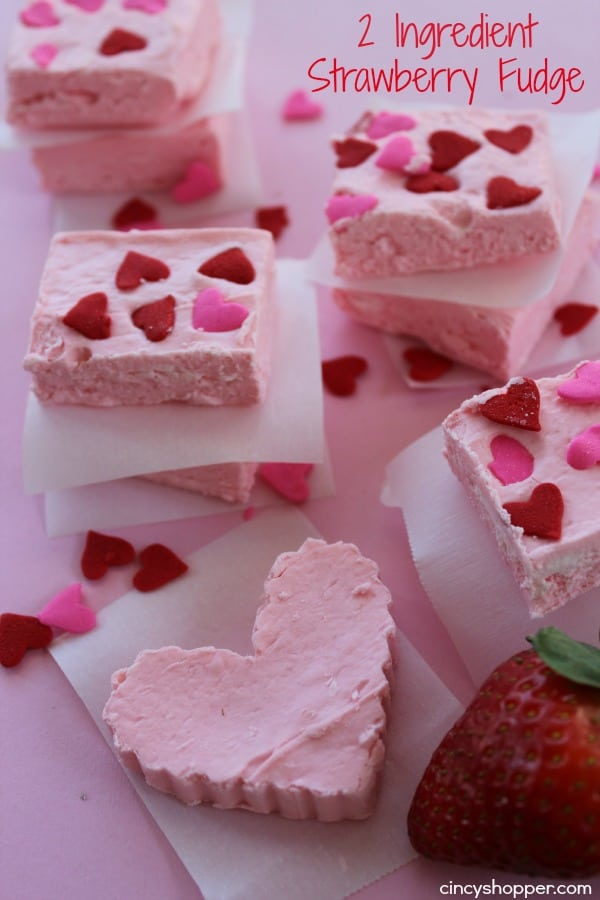 2 Ingredient Strawberry Fudge- So easy and great for Valentine's Day!