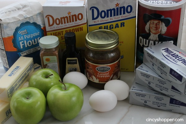 Ingredients to make Caramel Apple Cheesecake Bars.