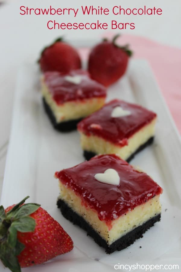 Strawberry White Chocolate Cheesecake Bars- make for a great Valentine's Day dessert.
