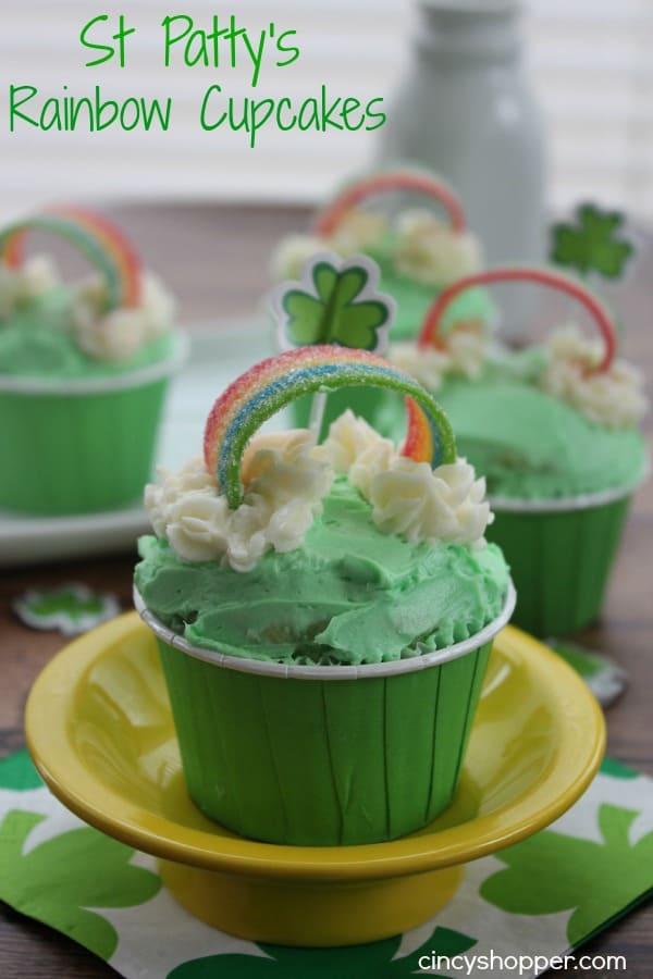 St Patrick's Rainbow Cupcakes