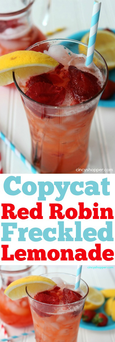Copycat Red Robin Freckled Lemonade Recipe- Loaded with great strawberry flavors. Super simple to make at home.