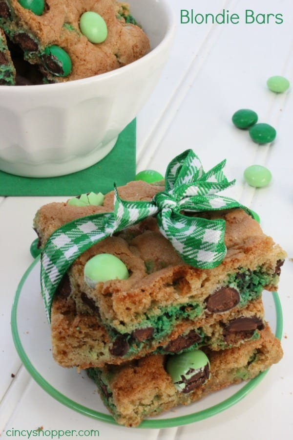 St Patrick's Day Blondie Bars
