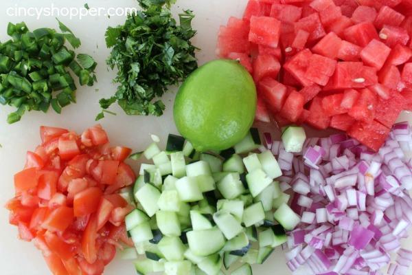 Diced salsa ingredients
