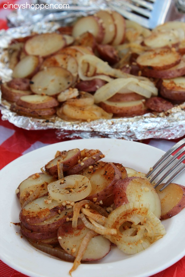Campfire Potatoes Recipe! Yummy Potatoes made on the Grill! Perfect side dish with any meal. Easy and NO Mess.