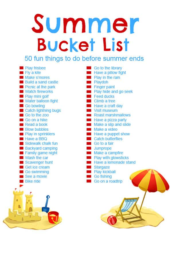Summer Bucket List for Kids- A great printable list of fun and inexpensive summer activities.