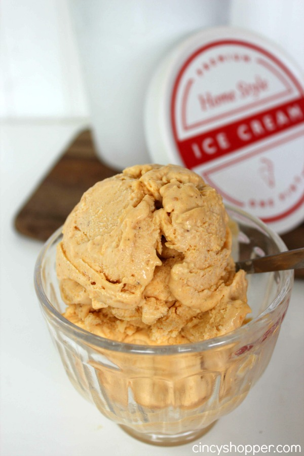 Pumpkin Pie Ice Cream Super easy dessert idea for fall. No machine needed. Make this one for Thanksgiving guests, they will love it!