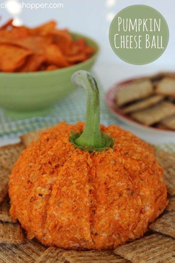Pumpkin Cheese Ball - Shaped just like a pumpkin. So easy and great for Halloween parties or for Thanksgiving appetizer.