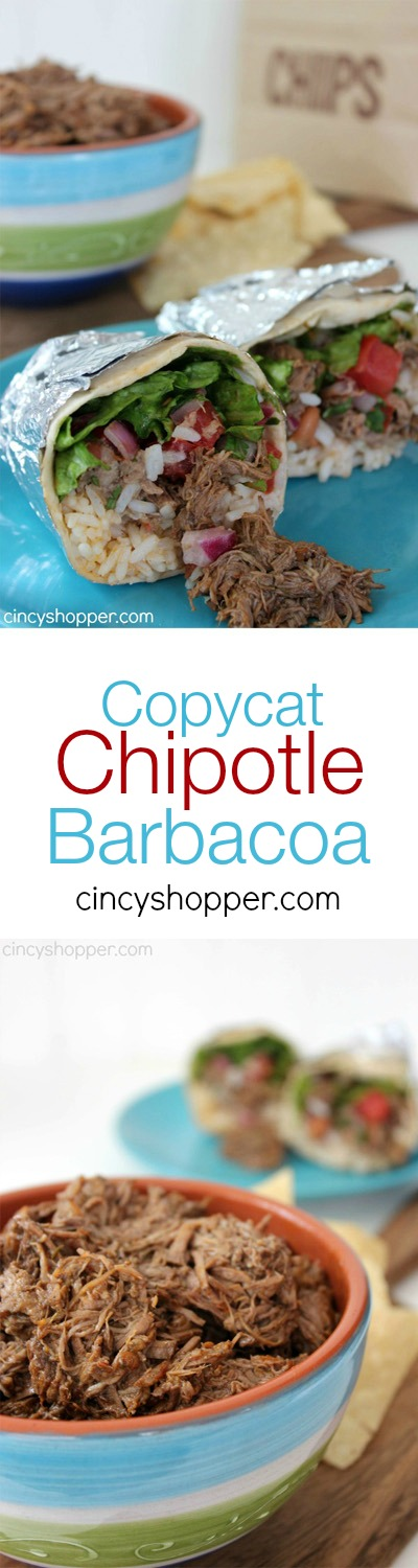 Copycat Chipotle Barbacoa Recipe- Great for burritos or bowls at home. Plus you will save $$'s.