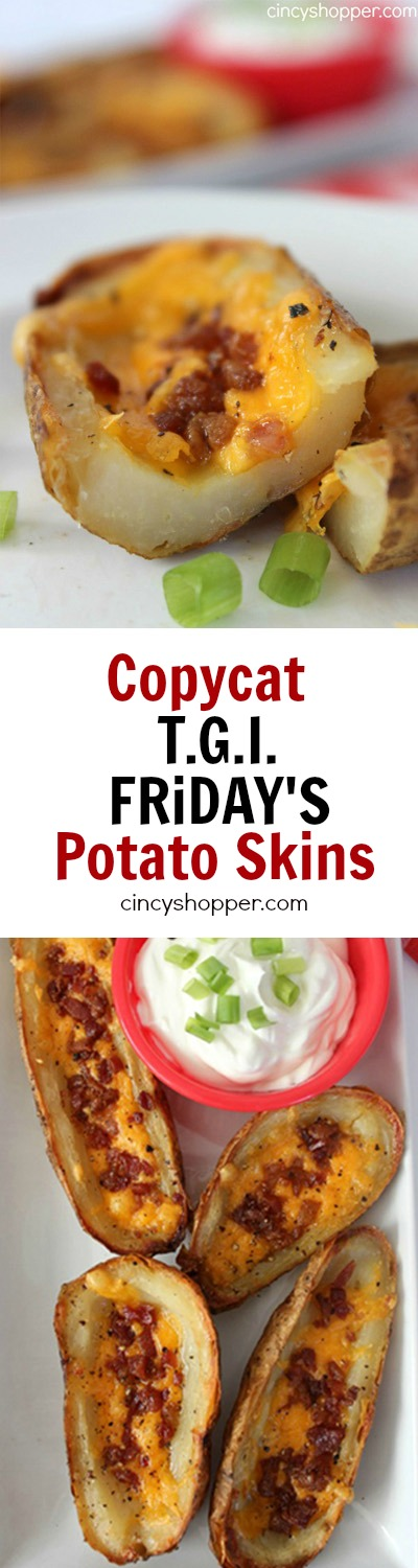 Copycat TGI Friday's Potato Skins Recipe. Potato Skins loaded up with cheese and bacon. Make your skins at home to save $$'s. Perfect for entertaining!