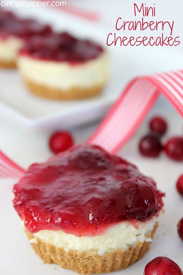 Mini Cranberry Cheesecakes Recipe. Perfect individual cheesecakes topped with cranberry yumminess. Great for the holiday dessert table!