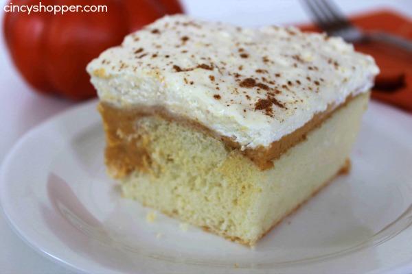 Pumpkin Pie Poke Cake Recipe- An easy cake for holiday entertaining. Great pumpkin Pie flavors.