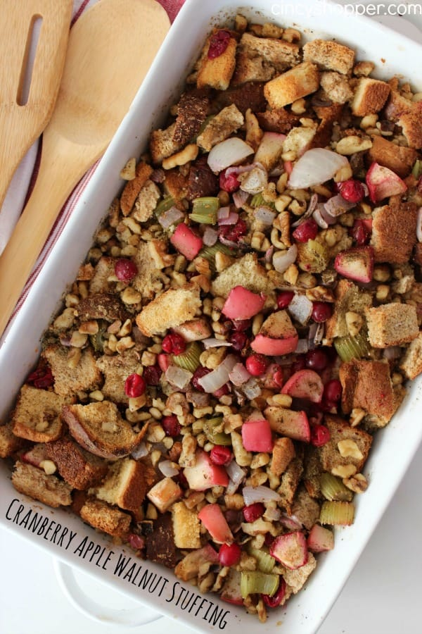 Cranberry Apple Walnut Stuffing Recipe- This not a plain herb stuffing that you are most likely use to. This dressing is loaded up with the yummy flavors of cranberries, apples and walnuts. Perfect Thanksgiving and Christmas Side Dish.