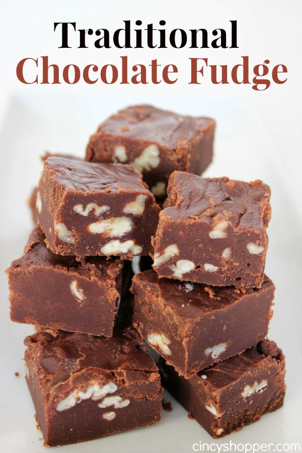 Traditional Chocolate Fudge Recipe- made the old school way with butter, milk, sugar and cocoa. Made just like it was when I was growing up (without marshmallow cream). Perfect fudge for the holidays or all year long.