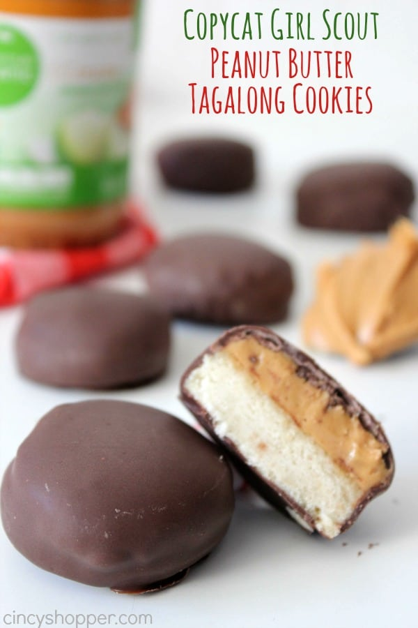CopyCat Girl Scout Peanut Butter Tagalong Cookies-Satisfy your cravings all year! The perfect combination of shortbread cookie, peanut butter filling and a chocolate coating.