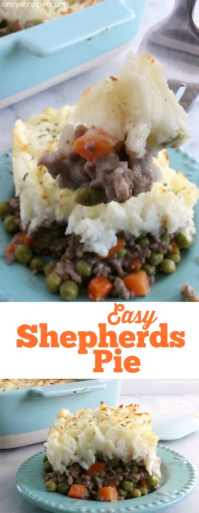 Easy Shepherd's Pie Recipe- Super Simple. Comfort food at it's finest! Ground Beef, Veggies and Mashed Potatoes...Yes Please!