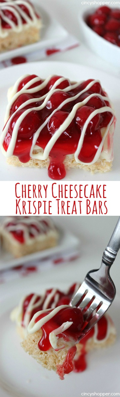 Cherry Cheesecake Krispie Treat Bars- An over the top delish cheesecake treat! Load them up with your favorite cheesecake fruit.