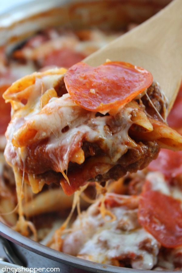 One Pot Pepperoni Pizza Pasta- Super Simple and inexpensive too. All the flavors of your favorite pizza in a pasta dish. All ingredients can be purchased at Aldi for under $8 and feed a larger family.