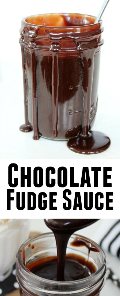 Chocolate Fudge Sauce- Rich and smooth making it a perfect addition to a big bowl of ice cream, waffles, fresh fruit, cake and more!